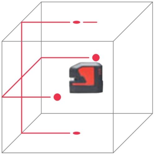 Kresba červeného bodokřížového laseru Leica